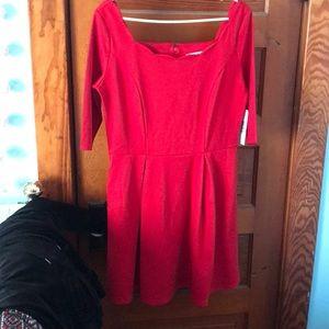 Red square neckline shirt just fab dress sz XL